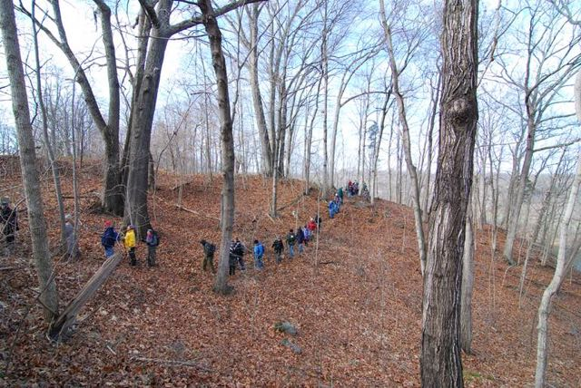 Winter Solstice Field Trip participants along the ridge trail that traverses sections of old-age Rich Cove Forest at Ferry Hill. Winter Solstice Field Trip participants along the ridge trail that traverses sections of old-age Rich Cove Forest at Ferry Hill. Photo by R.H. Simmons.