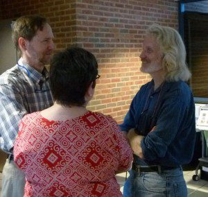 Sam Droege talks with audience before his presentation.