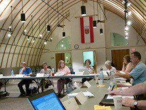 Nancy Vehrs leads quarterly in dairy barn - milked for all it was worth!