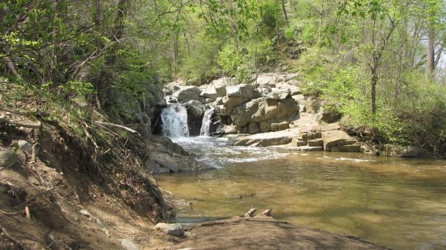 Falls at Scott's Run Preserve.  Swimming is not allowed in the preserve.