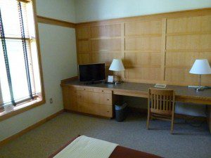 Simple, clean rooms on campus, walk to dining room, classrooms, and talks. Some field trips on campus, too.