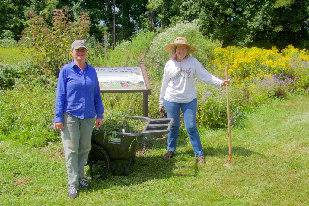 Sharon McCracken and Nancy Vehrs on a workday the Dale City Pollinator Garden.